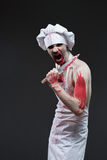 Butcher man. aggressive maniac chef in the blood Royalty Free Stock Images