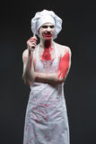 Butcher man. aggressive maniac chef in the blood Stock Photos