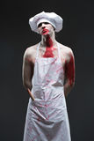 Butcher man. aggressive maniac chef in the blood Stock Photography