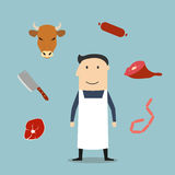 Butcher man and meat icons Stock Images
