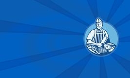 Butcher With Meat Cleaver Meat Cuts Retro Stock Image
