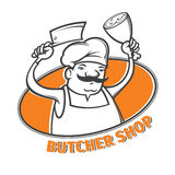 Butcher with meat cleaver Royalty Free Stock Image