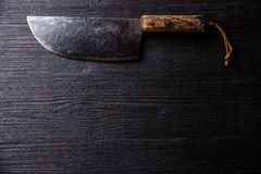 Butcher meat cleaver on wooden background copy space Royalty Free Stock Image
