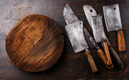 Butcher Meat cleavers and Chopping board Stock Images