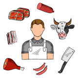 Butcher with meat and knife sketches Stock Image