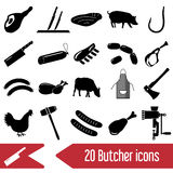 Butcher and meat shop black icons set Royalty Free Stock Photography