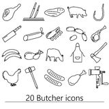 Butcher and meat shop black outline icons set Stock Photography