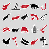 Butcher and meat shop black and red stickers set Stock Image