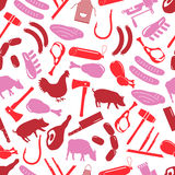 Butcher and meat shop icons seamless red pattern eps10 Royalty Free Stock Photography