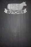 Butcher menu on Blackboard. Butcher menu illustration on black Blackboard Royalty Free Stock Images
