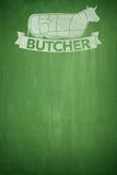 Butcher menu on Blackboard Stock Images