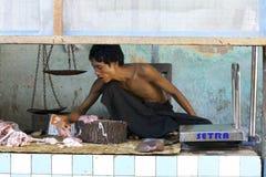 Butcher in Myanmar Royalty Free Stock Photos