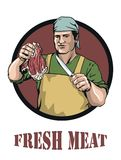 Butcher offers fresh meat Royalty Free Stock Photos