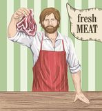 Butcher offers fresh meat Stock Photos