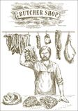 Butcher offers fresh meat Royalty Free Stock Images