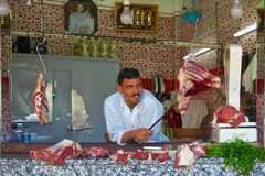 Butcher in an open air Moroccan market Stock Photography