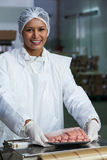 Butcher packing raw sausages. Portrait of female butcher packing raw sausages at meat factory Stock Image