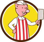 Butcher Pig Holding Meat Cleaver Circle Cartoon Royalty Free Stock Image