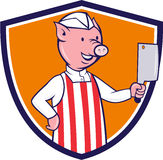 Butcher Pig Holding Meat Cleaver Crest Cartoon Royalty Free Stock Photography