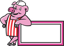 Butcher Pig Leaning On Sign Cartoon Stock Photography