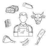 Butcher proffesion and meat icons Royalty Free Stock Images