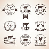 Butcher retro emblems and labels set,  design elements and templ Royalty Free Stock Images