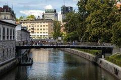 Butcher`s Bridge. Over the Ljubljanica river, Ljubljana, Slovenia Royalty Free Stock Image
