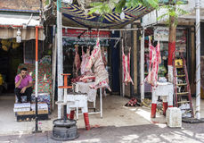 Butcher's shop with fresh raw meat Royalty Free Stock Image