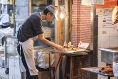 Butcher`s shop in Mong Kok district Stock Image