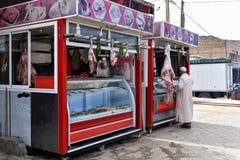 Butcher`s shop Morocco stock image