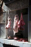 Butcher's shop. In the open air in the narrow streets of the Medina in Marrakeach, Morocco Royalty Free Stock Photos