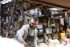 The butcher selling Corsica's sausages. Stock Photo