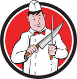 Butcher Sharpening Knife Circle Cartoon Royalty Free Stock Photography