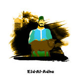 Butcher with Sheep for Eid-Al-Adha Mubarak. Illustration of a Butcher with Sheep on abstract paint stroke, Mosque background for Muslim Community, Festival of Stock Photos