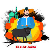 Butcher with Sheep for Eid-Al-Adha Mubarak. Muslim Community, Festival of Sacrifice, Eid-Al-Adha Mubarak with illustration of Butcher and Sheep on colorful Stock Images