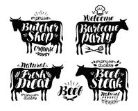 Butcher shop, barbecue party label set. Meat, beef steak, bbq icon or logo. Lettering vector illustration. Butcher shop, barbecue party label set. Meat, beef stock illustration