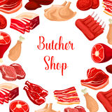 Butcher shop, butchery meat products vector poster. Butchery fresh meat products. Butcher shop poster of fresh beef raw filet and steak, pork bacon and Royalty Free Stock Images