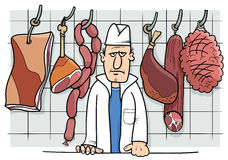 Butcher in shop cartoon Royalty Free Stock Image