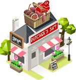Butcher Shop City Building 3D Isometric. Retro Butcher Shop Building with a Big Basket with Meat Products at the Top. 3D Tile for Your Own Isometric Game App Royalty Free Stock Photo