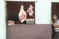 Butcher shop Cuban style. Royalty Free Stock Images