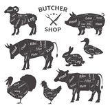Butcher shop. Cute, funny pets, animals. Agricultural meat farmer`s market. Butcher shop logos. Funny pets, animals. Agricultural meat farmer`s market. Diagram royalty free illustration