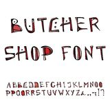 Butcher Shop Decorative Meat Font, Alphabet. Realistic Doodle Cartoon Style Hand Drawn Sketch Vector Illustration.Isolated On a Wh Stock Photos