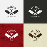 Butcher Shop Design Element in Vintage Style for Logotype, Label, Badge, T-shirts and other design. Cow face and knife retro vecto Royalty Free Stock Photography