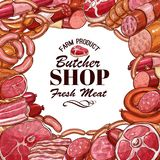 Vector sketch meat products for butcher shop. Butcher shop or farm meat and sausages sketch poster. Vector design of fresh bacon and ham, pork brisket or salami Stock Photo