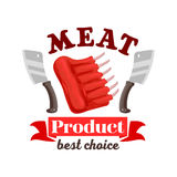 Butcher shop fresh meat ribs emblem. Meat icon for butcher shop sign or emblem of fresh pork, mutton or beef meat ribs. Vector meat steak with knives or hatchets Stock Photos