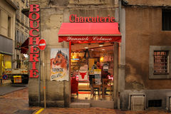 Butcher shop. Horse meat for sale. Carcassonne. France Royalty Free Stock Image
