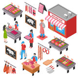 Butcher Shop Isometric Set. With sellers and customers meat products knives and cutting board isolated vector illustration Stock Photo