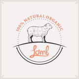 Butcher Shop Label Template, Lamb Cuts Diagram Royalty Free Stock Photo