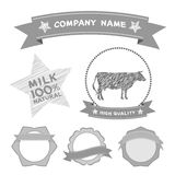 Butcher shop labels and design elements Farm, cow milk Diagram and Design Elements in Vintage Style. Vector Royalty Free Stock Photo
