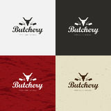 Butcher Shop Logo, Meat Label Template with Farm Animals Silhouettes and Knives. Royalty Free Stock Image